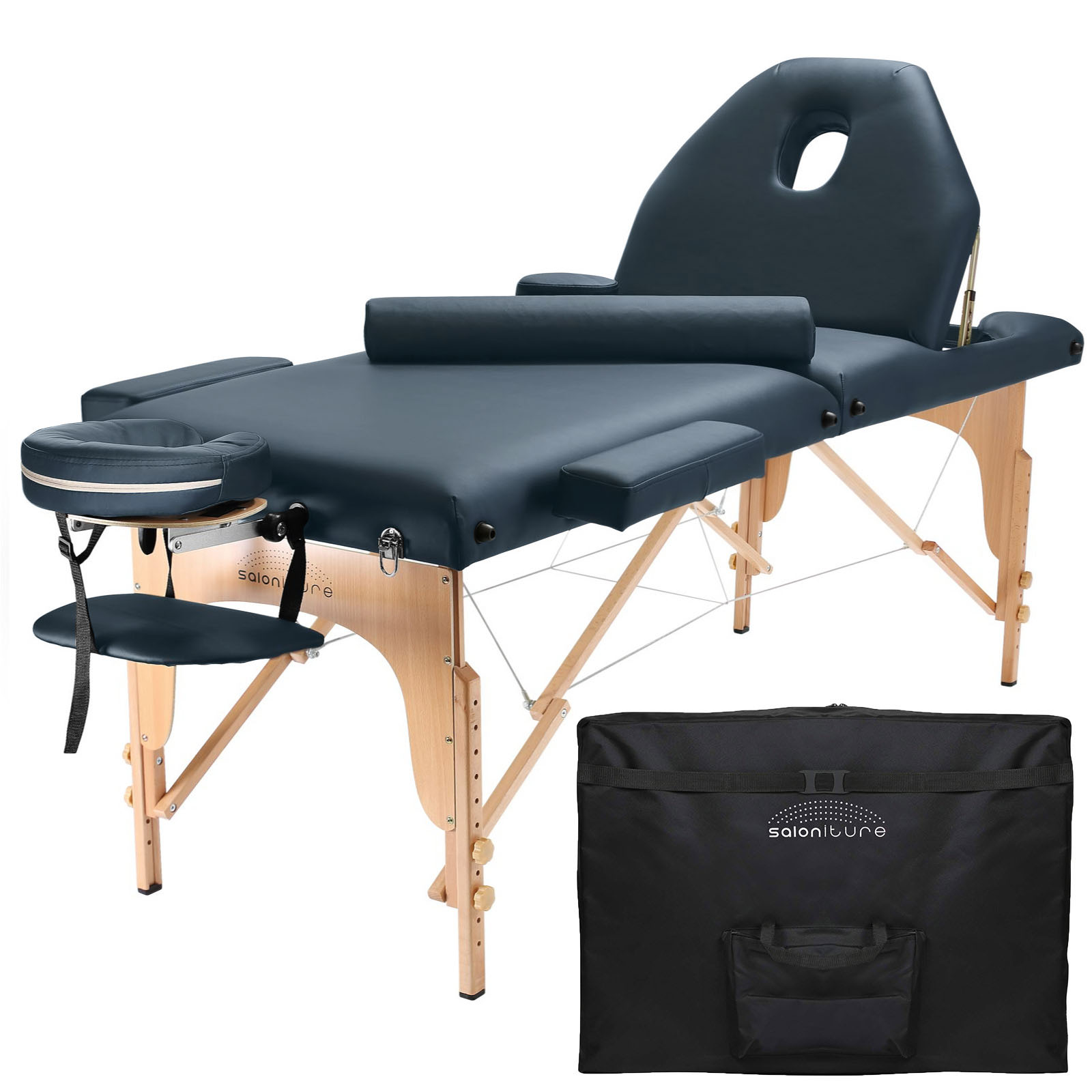 Professional Portable Massage Table with Backrest - Blue